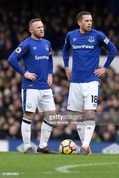 Wayne Rooney and Gylfi Sigurdsson of Everton during the Premier League match between Everton and Crystal Palace at Goodison Park on February 10 2018...