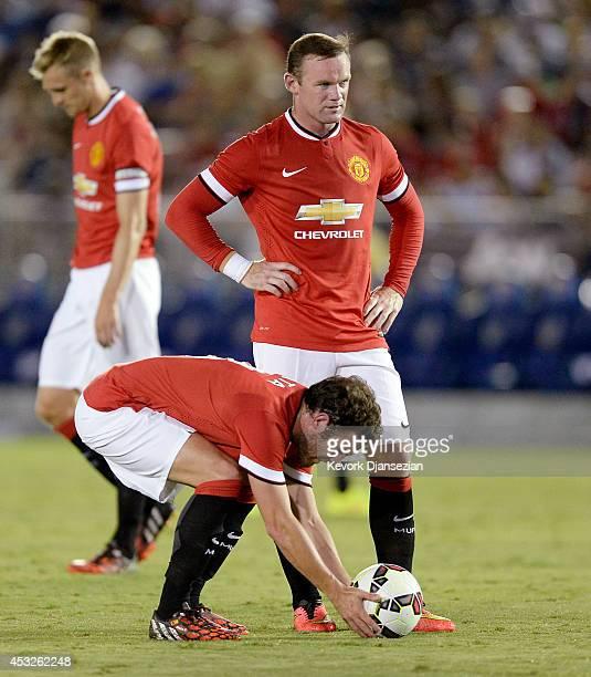 Wayne Rooney and Juan Mata of Manchester United during the preseason friendly match between Los Angeles Galaxy and Manchester United at the Rose Bowl...