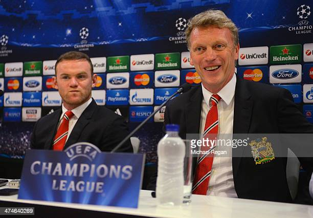 Wayne Rooney and manager David Moyes speak to the media during the Manchester United press conference at Karaiskakis Stadium on February 24 2014 in...