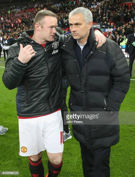 Wayne Rooney and Manager Jose Mourinho of Manchester United celebrate after the EFL Cup Final match between Manchester United and Southampton at...