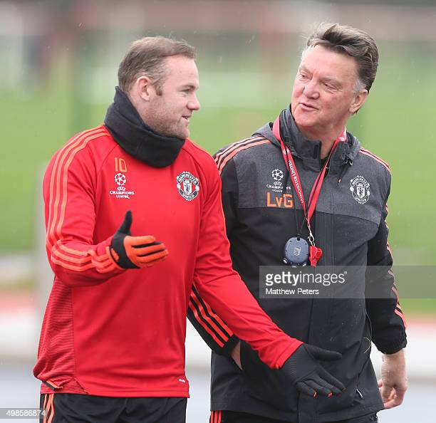 Wayne Rooney and Manager Louis van Gaal of Manchester United in action during a first team training session at Aon Training Complex on November 24,...