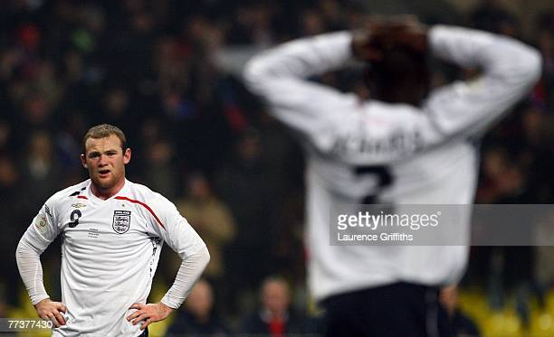Wayne Rooney and Micah Richards of England show their dissapointment as they concede a penalty during the Euro 2008 qualifying match between Russia...