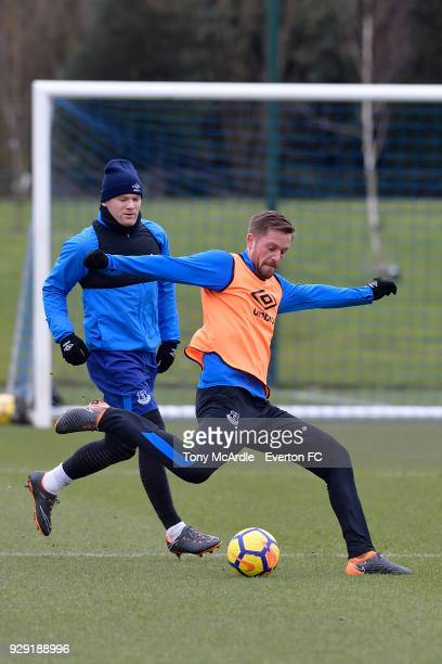 Wayne Rooney and Phil Jagielka during an Everton FC training session at USM Finch Farm on March 6 2018 in Halewood England