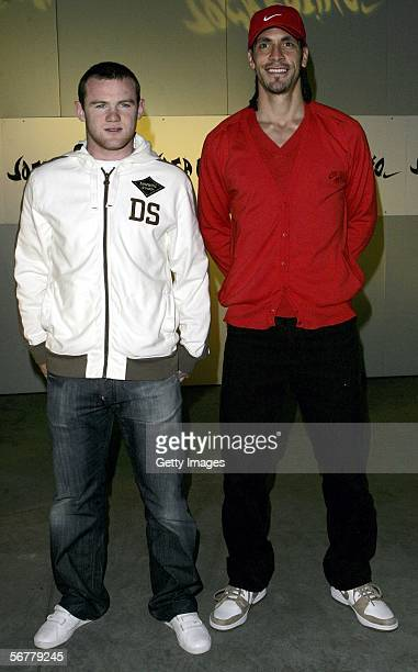 Wayne Rooney and Rio Ferdinand arrive at the launch of Nike's 'Joga Bonito' at the Truman Brewery on February 7 2006 in London England Wayne Rooney...
