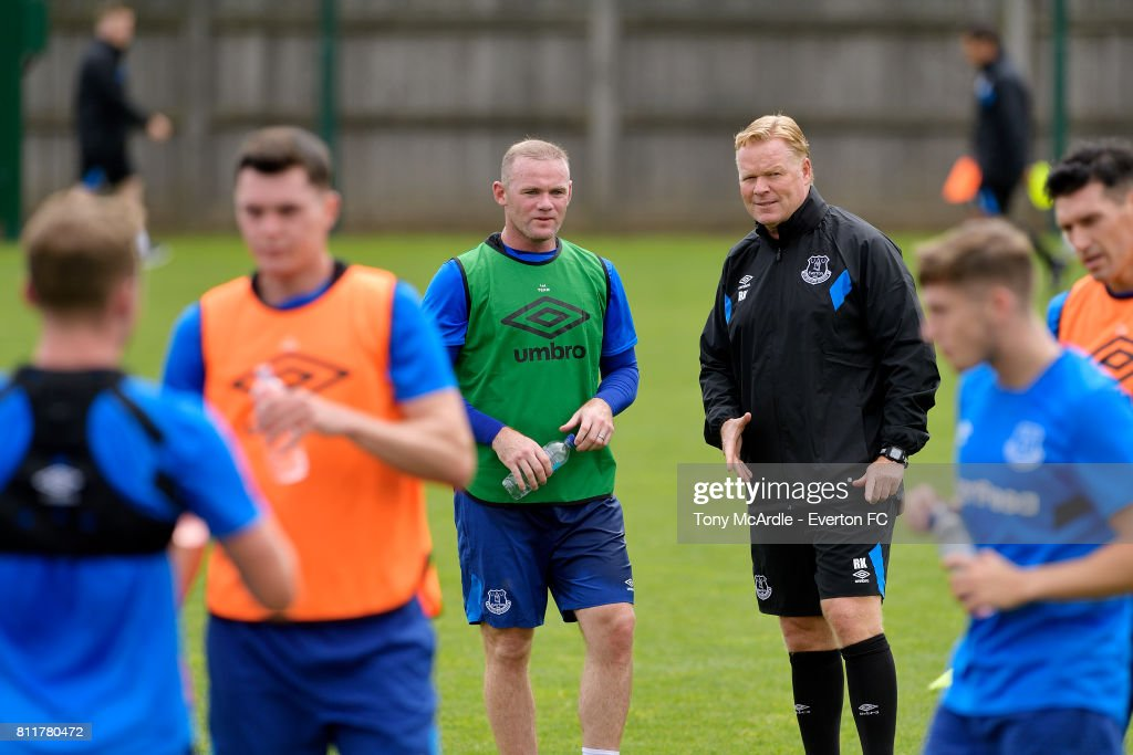 Wayne Rooney and Ronald Koeman during the Everton training session at USM Finch Farm on July 10, 2017 in Halewood, England.