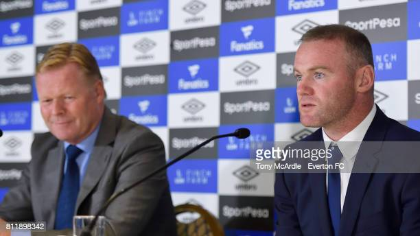 Wayne Rooney and Ronald Koeman speak to the press at Goodison Park on July 10 2017 in Liverpool England