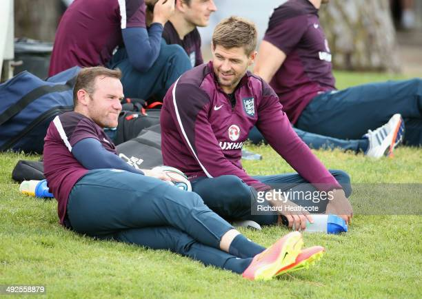 Wayne Rooney and Steven Gerrard relax during a training session at the England preWorld Cup Training Camp at the Vale Do Lobo Resort on May 21 2014...
