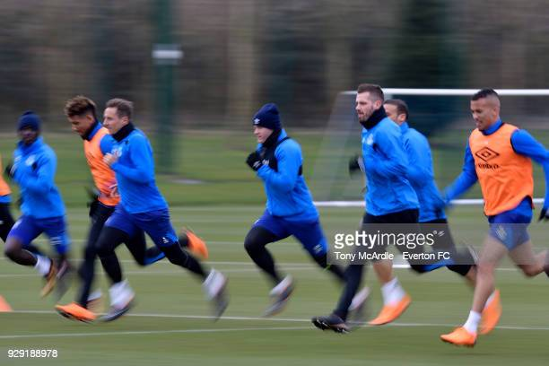 Wayne Rooney and team mates during an Everton FC training session at USM Finch Farm on March 6 2018 in Halewood England