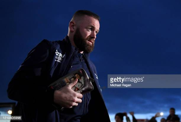 Wayne Rooney arrives prior to during the FA Cup Fifth Round match between Derby County and Manchester United at Pride Park on March 05, 2020 in...