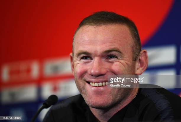 Wayne Rooney attends an England press conference at St Georges Park on November 13 2018 in BurtonuponTrent England