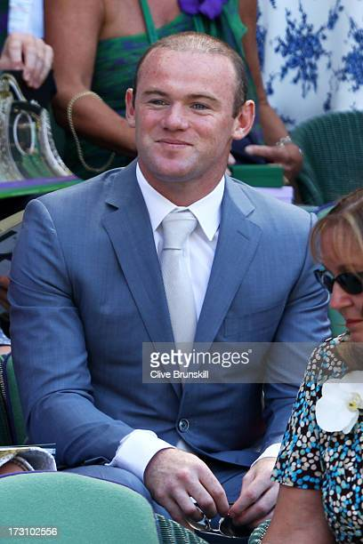 Wayne Rooney attends the Gentlemen's Singles Final match between Andy Murray of Great Britain and Novak Djokovic of Serbia on day thirteen of the...