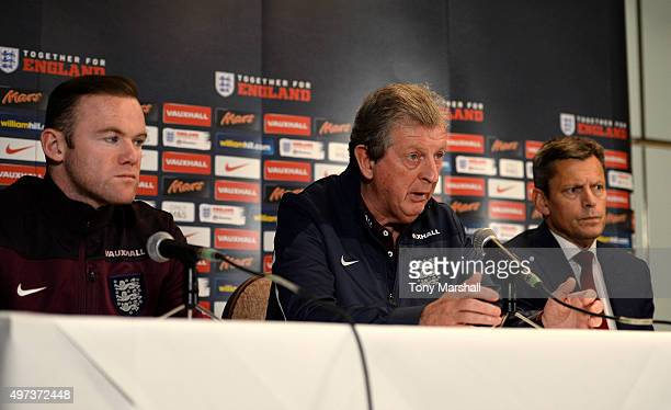 Wayne Rooney Captain of England Roy Hodgson Manager of England and Martin Glenn CEO of The FA during the England Press Conference at The Grove Hotel...