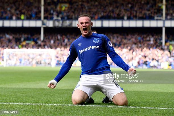 Wayne Rooney celebrates his goal during the Premier League match between Everton and Stoke City at Goodison Park on August 12 2017 in Liverpool...
