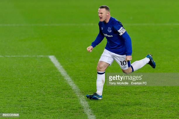 Wayne Rooney celebrates his goal during the Premier League match between Everton and Swansea City at Goodison Park on December 18 2017 in Liverpool...