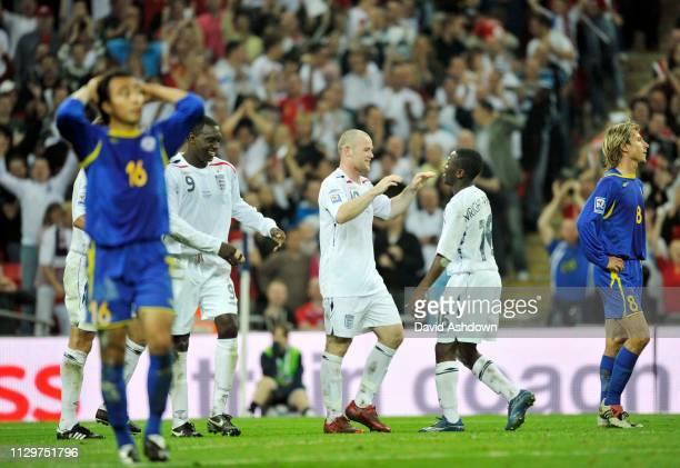 Wayne Rooney celebrates with Emile Heskey Ashley Cole and Shaun WrightPhillips after scoring his 2nd goal England v Kazakhstan FIFA World Cup Europe...