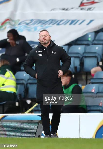 Wayne Rooney, Derby County Manager looks despairs during the Sky Bet Championship match between Blackburn Rovers and Derby County at Ewood Park on...