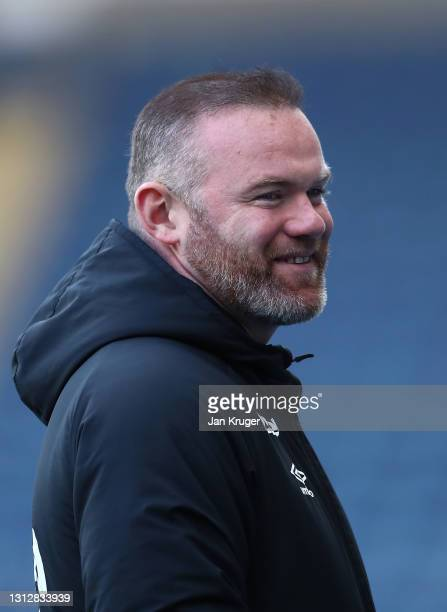 Wayne Rooney, Derby County Manager looks on ahead of the Sky Bet Championship match between Blackburn Rovers and Derby County at Ewood Park on April...