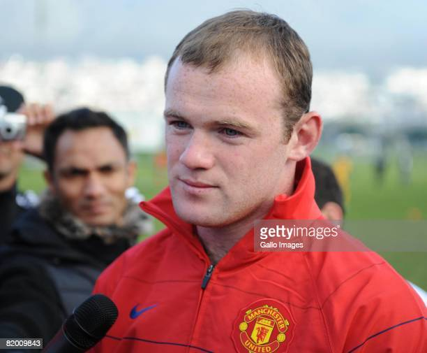 Wayne Rooney during a Manchester United coaching clinic held at Hamiltons Rugby Club on July 20 2008 in Cape Town South Africa