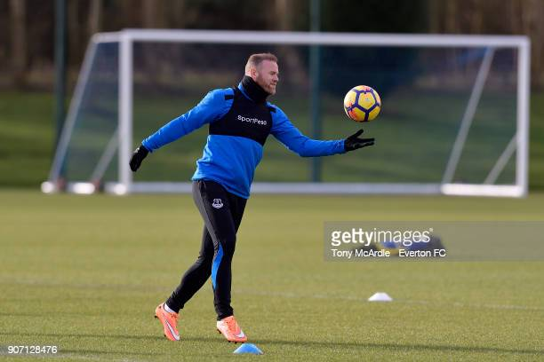 Wayne Rooney during the Everton FC training session at USM Finch Farm on January 19 2018 in Halewood England
