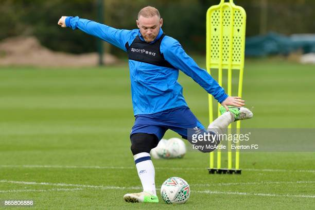 Wayne Rooney during the Everton training session at USM Finch Farm on October 24 2017 in Halewood England