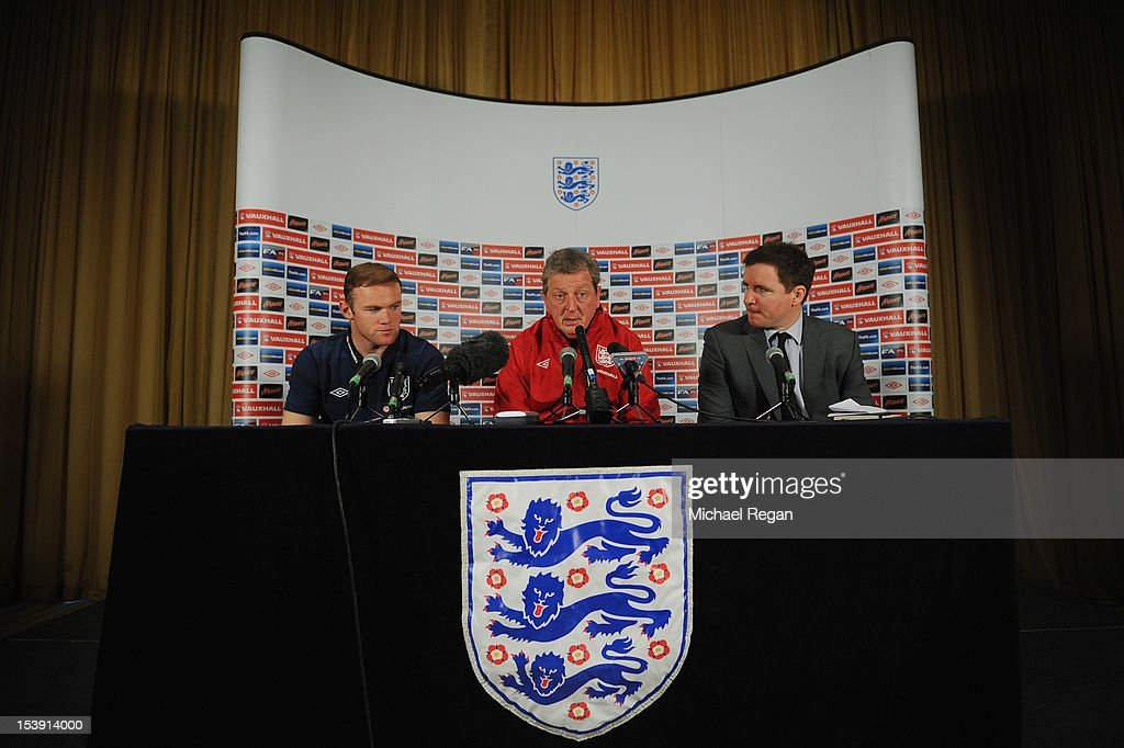 Wayne Rooney, England manager Roy Hodgson and FA Head of Media Relations Mark Whittle during the England press conference ahead of their FIFA World Cup qualifier against San Marino at The Grove Hotel on October 11, 2012 in Watford, England.