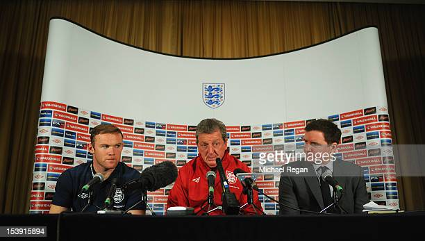Wayne Rooney England manager Roy Hodgson and FA Head of Media Relations Mark Whittle during the England press conference ahead of their FIFA World...