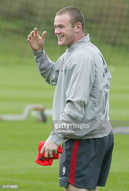 Wayne Rooney in action during a first team training session at Carrington Training Ground on 1 October 2004 in Manchester, England.