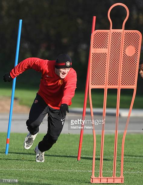 Wayne Rooney in action during a Manchester United first team training session at Carrington Training Ground on November 6, 2007 in Manchester,...