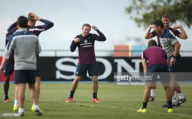 Wayne Rooney in action during the England training session at the Urca Military Base on June 11 2014 in Rio de Janeiro Brazil