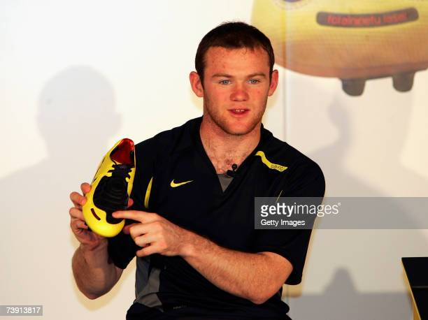 Wayne Rooney launches the new Nike Total 90 Laser Boot on April 18 2007 at Old Trafford Manchester