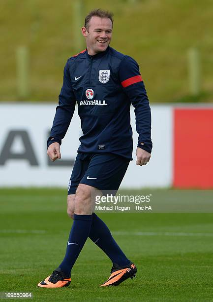 Wayne Rooney looks on during the England Training Session at St Georges Park on May 27, 2013 in Burton-upon-Trent, England.