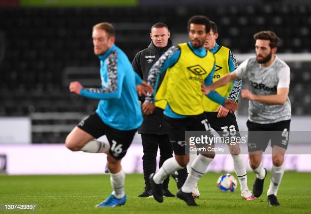 Wayne Rooney, Manager of Derby County looks on during the warm up prior to the Sky Bet Championship match between Derby County and Brentford at Pride...