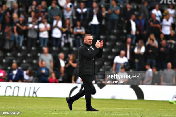 Wayne Rooney manager of Derby County seen following the Sky Bet Championship match between Derby County and Huddersfield Town at Pride Park Stadium...