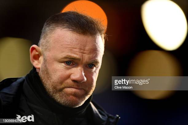 Wayne Rooney, manager of Derby County talks to the press after the Sky Bet Championship match between Coventry City and Derby County at St Andrew's...