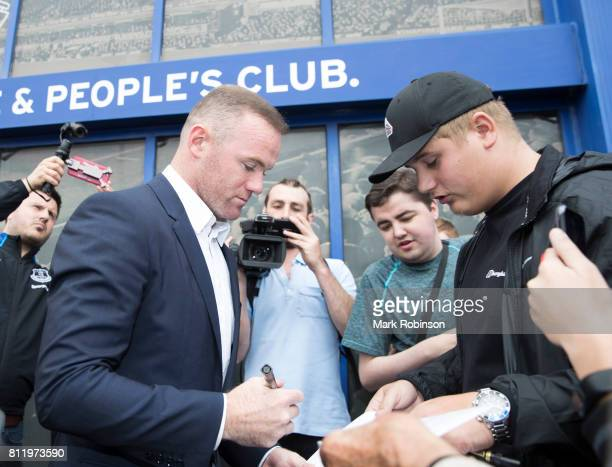 Wayne Rooney meets fans outside Goodison Park on July 10 2017 in Liverpool England