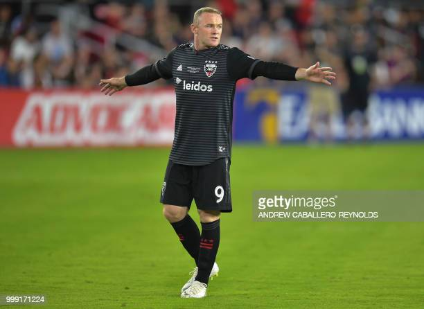 Wayne Rooney of DC United gestures during the DC United vs the Vancouver Whitecaps FC match in Washington DC on July 14 2018