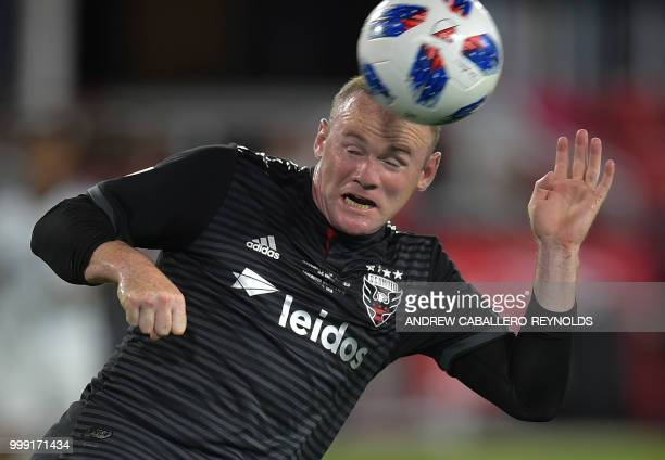 Wayne Rooney of DC United heads the ball during the DC United vs the Vancouver Whitecaps FC match in Washington DC on July 14 2018