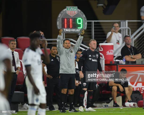 Wayne Rooney of DC United prepares to come onto the pitch during the DC United vs the Vancouver Whitecaps FC match in Washington DC on July 14 2018
