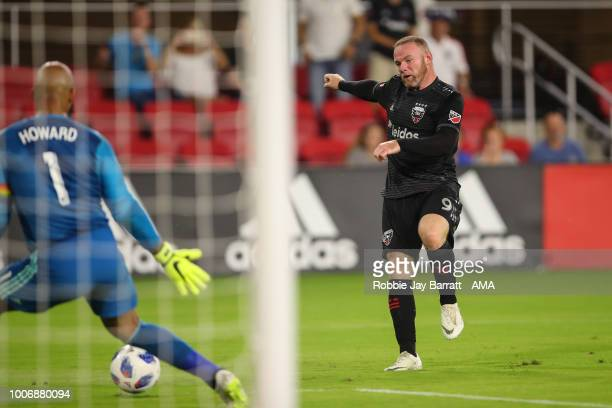 Wayne Rooney of DC United scores a goal to make it 10 during the MLS match between DC United and Colorado Rapids at Audi Field on July 28 2018 in...