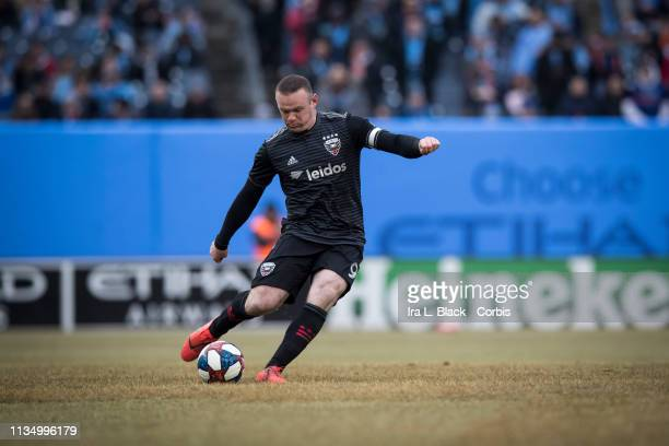 Wayne Rooney of D.C. United takes a penalty shot during the 1st half of the 2019 Major League Soccer Home Opener match between New York City FC and...