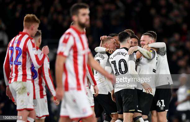 Wayne Rooney of Derby County celebrates after scoring his team's 3rd goal during the Sky Bet Championship match between Derby County and Stoke City...