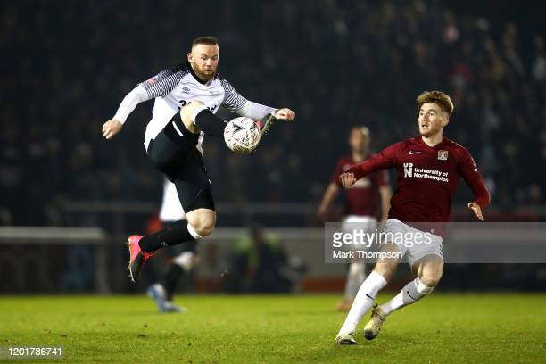 Wayne Rooney of Derby County controls the ball during the FA Cup Fourth Round match between Northampton Town and Derby County at PTS Academy Stadium...