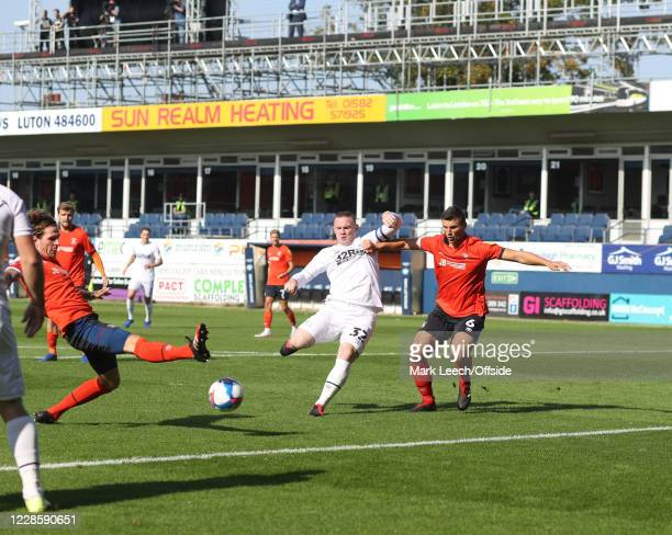 Wayne Rooney of Derby County during the Sky Bet Championship match between Luton Town and Derby County at Kenilworth Road on September 19 2020 in...