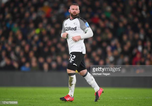 Wayne Rooney of Derby County in action during the FA Cup Fifth Round match between Derby County and Manchester United at Pride Park on March 05, 2020...