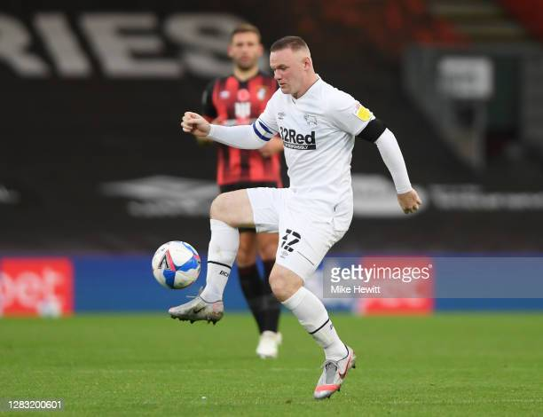 Wayne Rooney of Derby County in action during the Sky Bet Championship match between AFC Bournemouth and Derby County at Vitality Stadium on October...