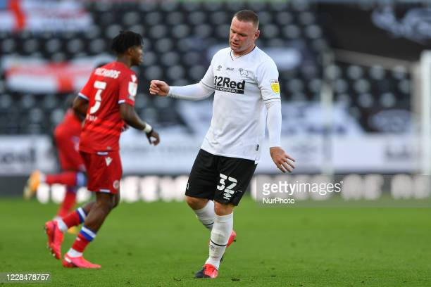 Wayne Rooney of Derby County looking dejected during the Sky Bet Championship match between Derby County and Reading at the Pride Park Derby England...