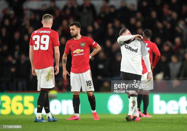 Wayne Rooney of Derby County reacts after Manchester United score their second goal during the FA Cup Fifth Round match between Derby County and...