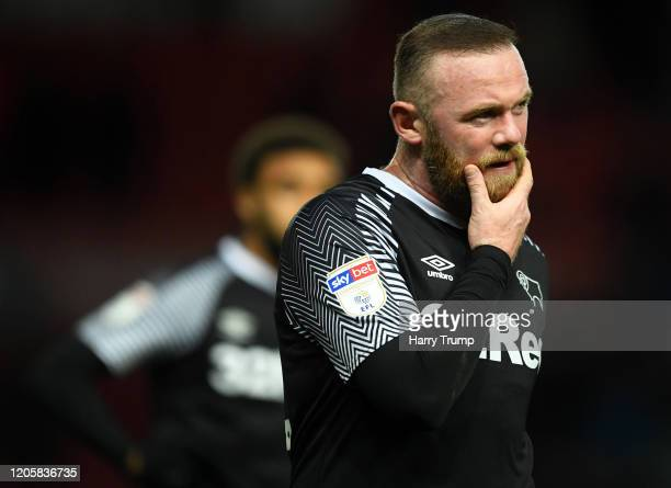 Wayne Rooney of Derby County reacts at the final whistle during the Sky Bet Championship match between Bristol City and Derby County at Ashton Gate...