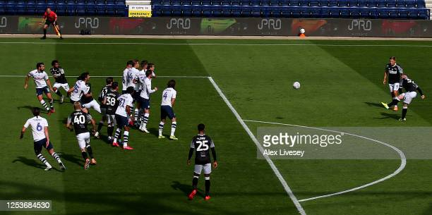Wayne Rooney of Derby County scores the opening goal during the Sky Bet Championship match between Preston North End and Derby County at Deepdale on...