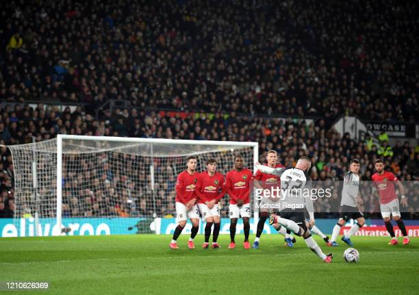 Wayne Rooney of Derby County takes a free-kick during the FA Cup Fifth Round match between Derby County and Manchester United at Pride Park on March...